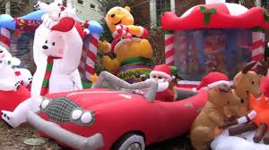 Holiday Blow Up Decorations Holiday Inflatamania One House Dozens Of Inflatables Youtube