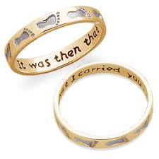 footprints in the sand gifts 14k gold sterling two tone footprints ring with 2 free gifts