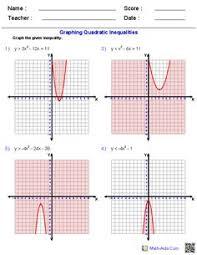 graphing quadratic inequalities worksheet worksheets