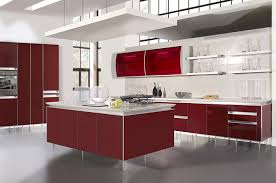 red and brown kitchen decor built in microwave square stainless