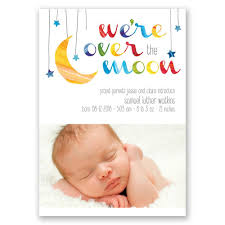 the moon birth announcement invitations by
