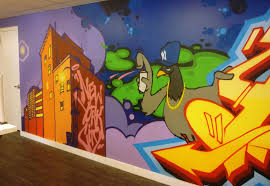 modern mural linkedin office custom graffiti mural