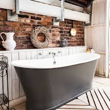 incredible cool bathroom with beams
