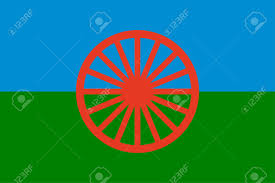 Flag Of Roma Gypsy Roma Flag Blue Green And Blue Colors Symbolize Sky