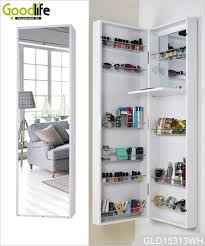Jewelry Storage Cabinet 2 Doors Wooden Jewelry Cabinet With Full Length Mirror