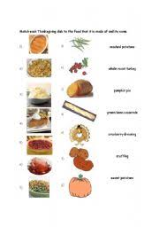 worksheet typical thanksgiving foods