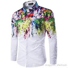 new paint 2018 2017 new arrival man fashion shirt pattern design long sleeve