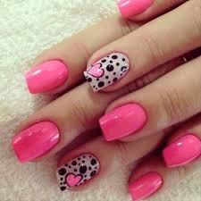 heart nail designs with black and white patterns and pink