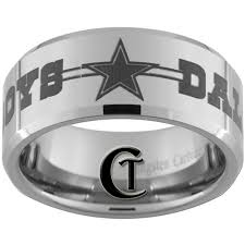 wedding rings dallas beveled tungsten carbide dallas cowboys 50 design