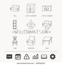Armchair Analysis Corner Sofa Table Armchair Icons Chair Stock Vector 659562613