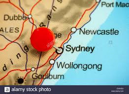 Push Pin Map Close Up Of A Red Pushpin On A Map Of Sydney Australia Stock