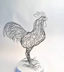 rooster cockerel wire sculpture by elizabeth berrien by wirezoo on
