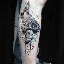 wolf howling tattoos