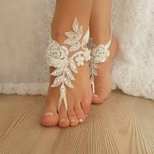 wedding barefoot sandals ivory barefoot silver frame lace sandals wedding anklet