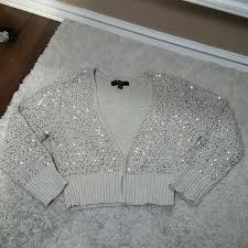 silver cardigan sweater 88 express sweaters express silver sequin beige crop