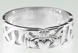 Claddagh Wedding Ring by Mens 10k 14k 18k White Gold Celtic Claddagh Wedding Band Ring