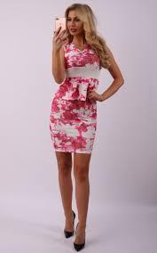 anya pink floral peplum dress missfiga com