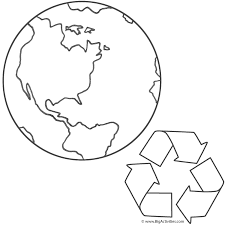 planet earth and recycling coloring page earth day