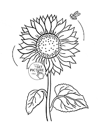 cute sunflower and bee coloring page for kids flower coloring