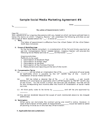sample social media marketing agreement free download