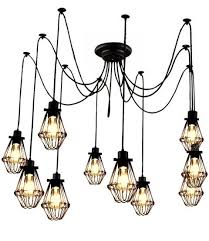 Swag Pendant Lighting Customizable Industrial Cage Swag Pendant Chandelier By