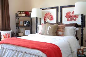 Bedroom With Red Accent Wall - mens bedroom decor bedroom beach style with hotel bedding hotel