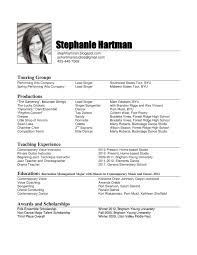 Resume Example Format by Dance Curriculum Vitae Sample Corpedo Com