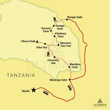 Mt Kilimanjaro Map 9 Day Kilimanjaro Climb U2013 Rongai Route Ultimate Expeditions