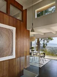 san francisco wood paneling ideas dining room midcentury with