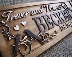 wedding gift name sign personalized wedding gift family name signs carved custom