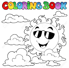 coloring book with sun and clouds 1 vector illustration royalty