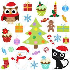 christmas vector cute elements set royalty free cliparts vectors