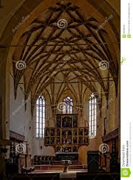 vaulted ceiling in biertan fortified church romania stock photo