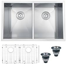 30 inch undermount double kitchen sink ruvati rvh7 satin silver stainless steel 30 inch 16 gauge zero