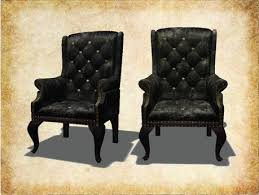 Leather Wing Back Chairs Second Life Marketplace Noctis Mesh Leather Studded Wingback