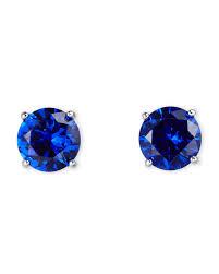 blue stud earrings jardin silver tone blue cubic zirconia stud earrings in blue lyst