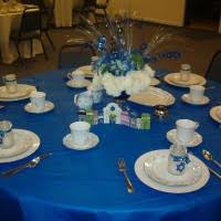 Cool Christmas Banquet Table Decorations With Blue Table Cloth And
