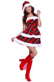 womens santa costume chic womens plaid fur dress christmas santa costume pink