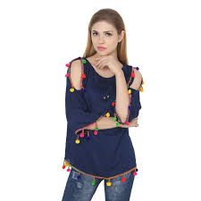 shoulder top buy jollify womens blue rayon cut shoulder embroidered top