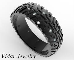 tire wedding rings black gold wedding band tire tread ring unique wedding band