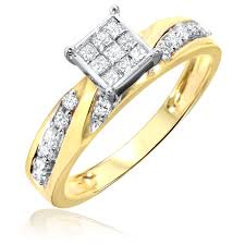 2 carat gold engagement ring 1 carat trio wedding ring set 14k yellow gold