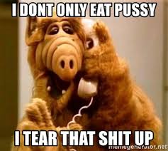 Eating Pussy Meme - i dont only eat pussy i tear that shit up inappropriate alf meme