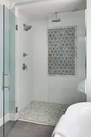 6x6 offset white wall tile with gray hexagon mosaic floor tile