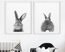 rabbit prints rabbit print etsy