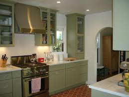 Kitchen Cabinets Repainted by Painted Green Kitchen Cabinets With Light Counter Tops My Home