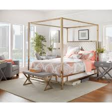 Poster Bed Canopy Solivita King Size Canopy Chagne Gold Metal Poster Bed By