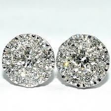 diamond earring studs diamond earrings studs 8mm big 0 52ctw 2ct solitaire look