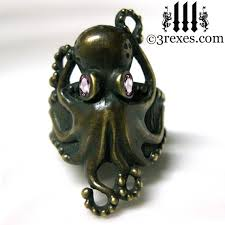 art deco octopus ring holder images Octopus ring antiqued dark brass gothic pink cz eyes size 5 5 by jpg