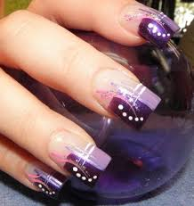 purple french manicure with white and pink lines perfect lady
