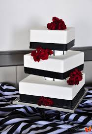 Red And Black Wedding Modern Square White And Black Wedding Cake With Fresh Red Flowers